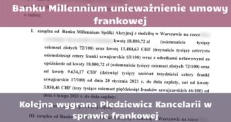 Wygrana w sprawie frankowej Millenium, Warszawa, wygrana frankowicza z Millenium